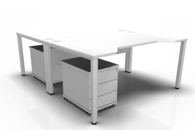 Avalon Two Person Double Wave Desk And Pedestal Combination