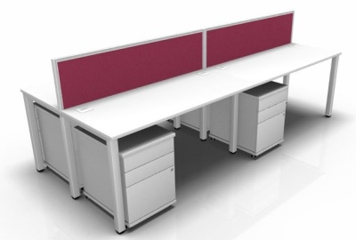 Avalon Four Person Bench Desk And Peds