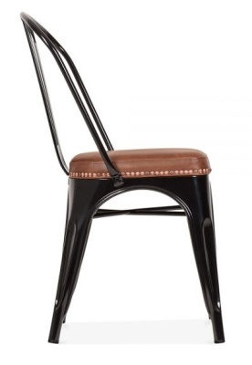 Xavier Pauchard Side Chair Ion Black With A Brown Faux Leather Seat Side View