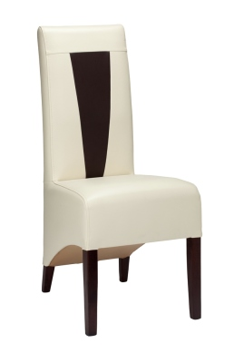 Treviso Leather Dining Chair With V Design