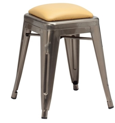 Tollix V2 Low Stool With Faux Leather Seat