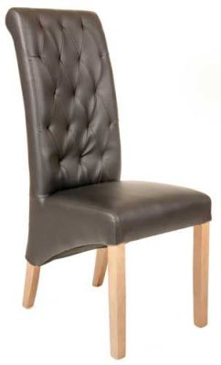 Eton Chair Brown Leather Front View