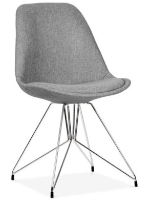 Geometric Upholstered Chairs Grey Fabric Angle Shot