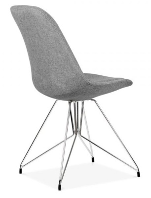 Geometric Upholstered Chairs Rear Angle Grey Fabric