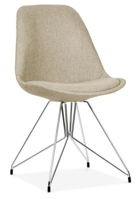 Geometric Chairs Beige Fabric Angle View