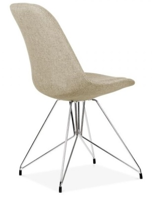 Geometric Chair Beige Fabric Rear Angle