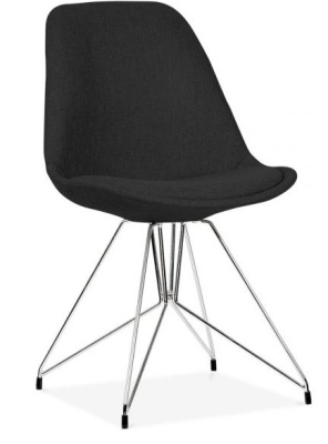 Geometric Chair Black Fabric Front Angle
