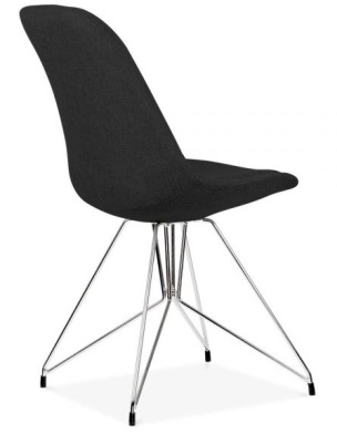 Geometric Chair Black Fabric Rear Angle