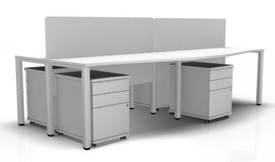 Avalon Four Person Bench Desk With Acrylic Screens