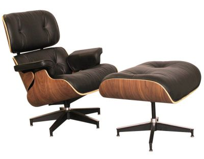 Eanes Lounge Chair Black Leather And Walnut