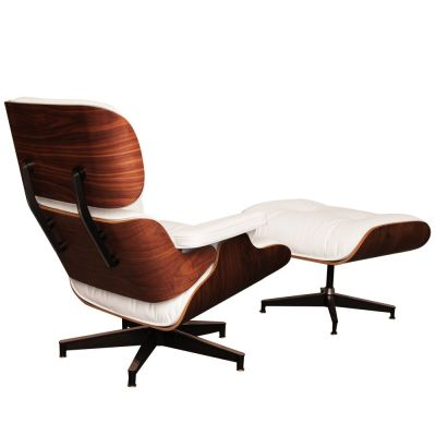 White Leather And Walnut Eames Lounge Chair Rear Angle View
