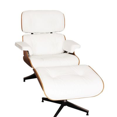 Eames Chair White Leather And Walnut Front Shot