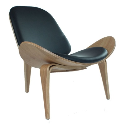 Hans J Wegner Inspired Shell Chair With A Black Faux Leather Seat And Back