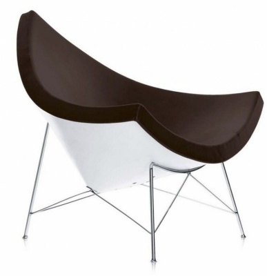 George Nelson Brown Leather Coconut Chair