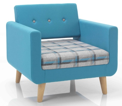 Freedom Single Seater Sofa With Wooden Legs And Button Back Angle Shot