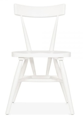 Trapeze Wooden Chair In White Front