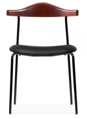 Alisa Chair With Black Faux Leather Seat Face View