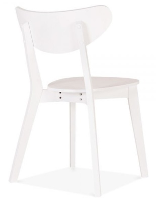 Joshua Whie Wooden Dining Chair Rear Angle
