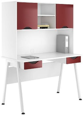 Aspire Reflections Desks With Two Darwers And Overhead Cupboard
