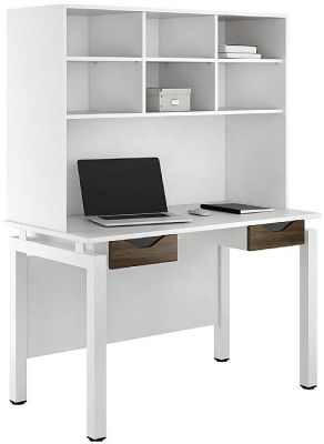 UCLIC Engage Refelctions Desk With Two Drawers And Overhead Shelving