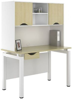 UCLIC Engage Desk With Single Drawer And Overhead Cvupboards