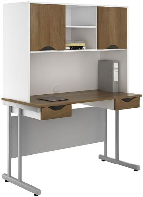 Uclic Create Doubel Drawer Desk With Overhead Cvupboards