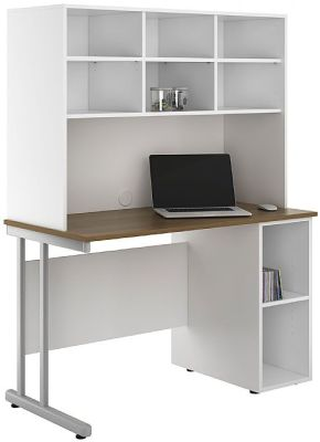 Uclic Create Sylvan Desk With Desk Base Unit And Overhead Shelving 1
