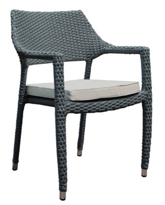 Belize Stackable Rattan Armchair With Light Grey Cushion