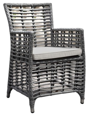 Santiago Rattan Armchairs With Light Grey Cushion