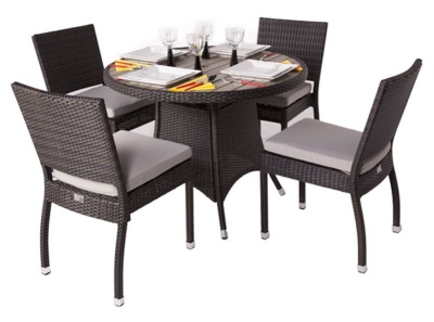 Orion Outdoor Weave Dining Set With A Round Table And Four Chairs And A Imitation Teak Top