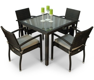 Orion Four Person Armchair Dining Set From Above