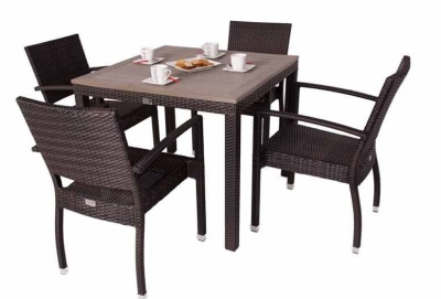 Orion Four Person Outdoor Dining Set With Four Armchairs And A Square Table With A Teak Effect Top