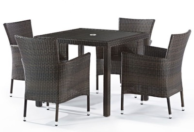 Cuba Four Person Outdoor Weave Dining Set With A Square Table And Glass Top