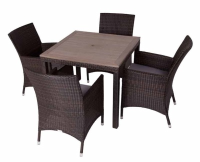 Cuba Four Person Dining Set With Teak Effect Top And Square Table