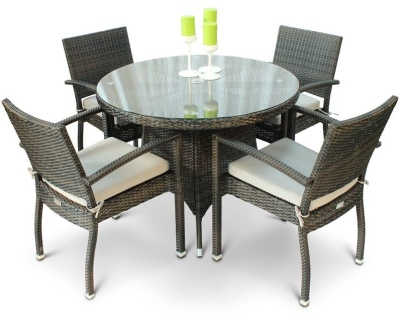 Orion Four Person Armchair Dining Set With A Circular Table With A Glass Top