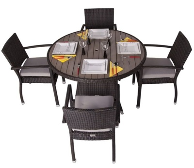 Orion Four Person Armchair Dining Set With A Circlar Table And Teak Effect Top