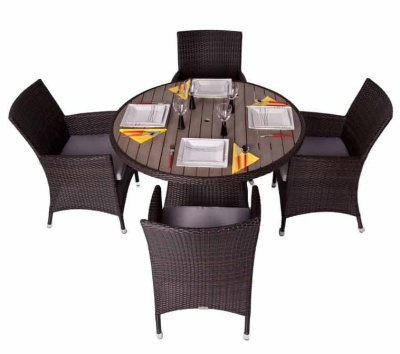 Cuba Four Person Weave Dining Set With A Circular Table With A Teak Effect Top Shot From Above