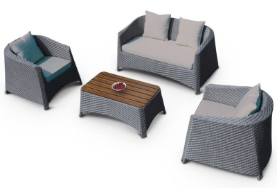 Majestic Outdoor Weave Sofa Seat With Light Grey Cushions