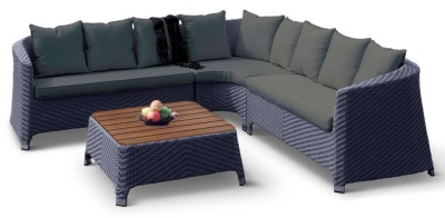 Majestic Rattan Corner Sofa Set With Dark Grey Cushions