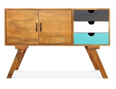 Josephine Credenza Facing Teal Drawer Front