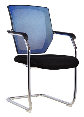 Regatta Confernce Chair With A Blue Mesh Back Angle Shot