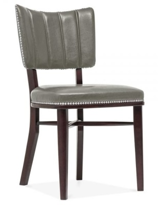 Chicago Grey Leather Dining Chair Front Angle