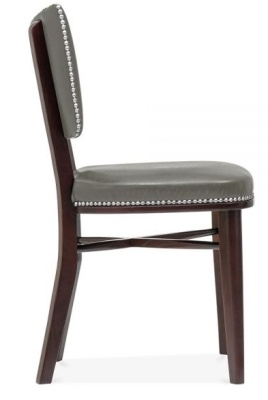 Chicago Grey Leather Fining Chair Side View