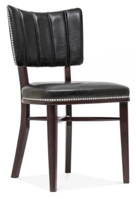 Chicago Black Leather Dining Chair Front Angle