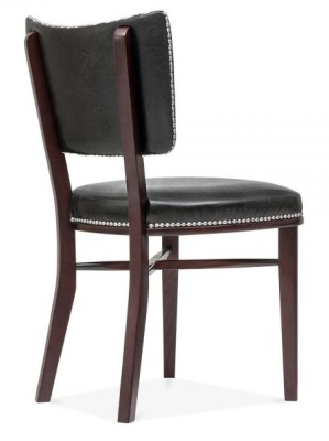 Chicago Black Leather Fining Chair Rear Angle