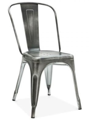Xavier Pauchard Chair Antique Silver Finish Front Angle