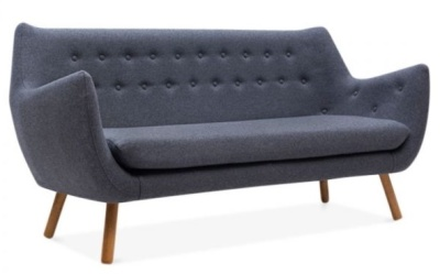 Poet Sofa Three Seater In Dark Grey Front Angle View