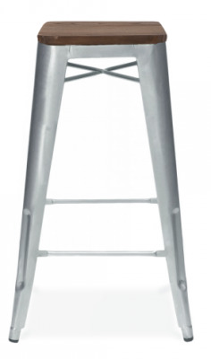 Xavier Pauchard High Stool With A Wooden Seat And Galvanised Finish 1