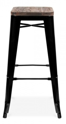 Xavier Pauchard High Stool In Black With A Wooden Seat