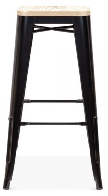 Xavier Pauchard Stool In Black With A Natural Seat Pad 1